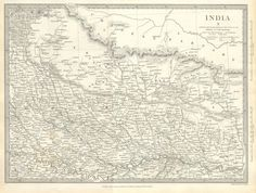 1834 S.D.U.K. (Society for the Diffusion of Useful Knowledge) Map of North India, Nepal, and Allahabad