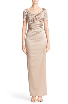 Talbot Runhof Cap Sleeve Ruched Satin Column Gown available at #Nordstrom