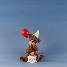 Miniature Brown Bear Birthday Party_Dollhouse Toy_Artist Doll_Ooak_Cheryl Brown #CherylsLittleCreations
