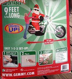Gemmy 9' Santa on Chopper Motorcycle Christmas Inflatable Yard Airblown Light Up | eBay