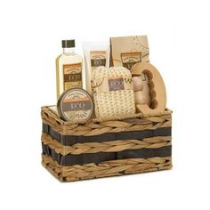 Eco Invigorating Spa Basket This decorative basket is filled with invigorating spa essentials that will awaken your senses. The scent of warm vanilla and ginger are perfectly blended in the shower gel, body lotion, bath crystals and body scrub, and the woven basket also includes a bath sponge and massage tool.