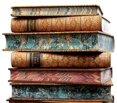 19th century leather bound books with marbled pages edges