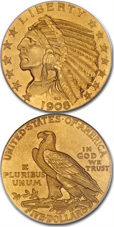 The Indian Head half eagle made its debut in along with a quarter eagle of identical design. These coins are unlike any other produced before or since Gold American Eagle, American Coins, Gold Eagle Coins, Gold And Silver Coins, Bullion Coins, Gold Bullion, Gold Coin Price, Valuable Coins, Coin Art