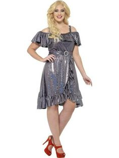 Ladies Fancy Dress Up Party Clubwear Curves Disco Diva Costume Outfit - awesome kids Disco Fancy Dress, Ladies Fancy Dress, Fancy Dress Plus Size, Plus Size Dresses, Nice Dresses, Disco Costume, Costume Dress, Apple Costume, Anos 60