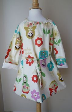 Girls White Matryoshka dress size 3T by BenneboKids on Etsy, $35.00