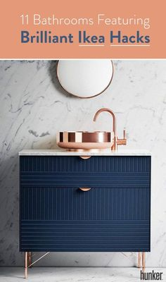 11 Bathrooms Featuring Brilliant Ikea Hacks - Superfront wants to help you improve your Ikea furniture. This Swedish company makes the process ea - Wallpaper Furniture, Ikea Furniture, Bathroom Furniture, Furniture Makeover, Kitchen Furniture, Ikea Hack Bathroom, Ikea Bathroom Vanity, Bathroom Styling, Small Bathroom Vanities