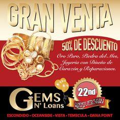 Gran Venta Gems N' Loans Escondido Casa de Empeño, 50% de descuento Oro Puro, Piedra del Mes, Joyería con Diseño de Corazón y Reparaciones.