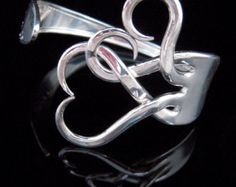 Vintage Silverware Fork Bracelet in Original Intertwining Hearts Design