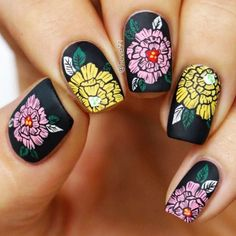 18 Creative Ways Update You Mani With Yellow Flowers Nail Art Dianthus Ca – … – Woodruff Nail Art Gris, Nail Art Fleur, Great Nails, Cool Nail Art, Cute Nails, Black Manicure, Black Nails, Black Nail Designs, Nail Art Designs