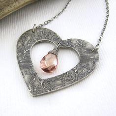 Spring Fashion Heart Necklace Peach Quartz by JenniferCasady, $86.00