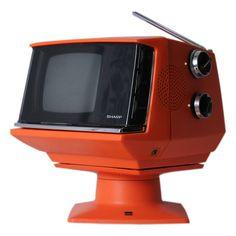 (design-is-fine: Sharp TV set, Japan. Home Deco, Hifi Video, Sharp Tv, Retro Vintage, Portable Tv, White Tv, Cool Electronics, Old Computers, Chrome Handles