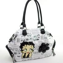 """FREE SHIPPING WITHIN THE CONTINENTAL USA  - Betty Boop® officially licensed - Soft Body PVC material - Dual shoulder straps 8.5"""" drop length - Top zippered main compartment - Inside zippered center compartment - Lined interior with zippered pocket ..."""