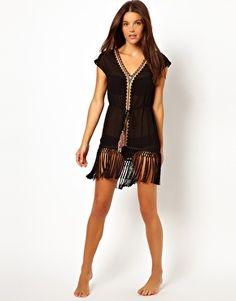 Image 4 ofWarehouse Fringed Beach Dress