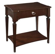 "Hekman New Traditions One Drawer Night Stand 951263NT - Hekman New Traditions One Drawer Night Stand 951263NTSKU: 951263NTManufacturer: HekmanCollection: New TraditionsFinish: New TraditionsWeight: 74Cubes: 7.9Overall Dimensions:Width 32"" (81 cm)Depth 20"" (51 cm)Height 31"" (79 cm)Features: Rectangular top with winged corners features slip matched leafy heart cherry veneer framed with an ebony inlayOne drawerTapered legsNickel finished hardwareNew Traditions finish"