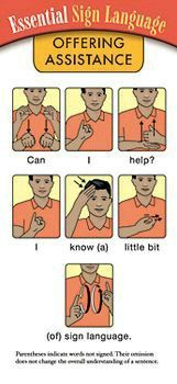 A pack of 15 Essential Sign Language-Offering Assistance: sentences, phrases, finger alphabet, and medical vocabulary to offer assistance in a situation requiring sign language. Sign Language Phrases, Sign Language Alphabet, Learn Sign Language, Baby Sign Language Chart, Sign Language For Kids, Libra No Amor, 1000 Lifehacks, Learn To Sign, Morse