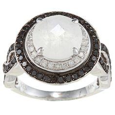 Silver Moonstone and 7/8ct TDW White/ Black Diamond Ring (J-K, I2-I3) silver moonstone ring