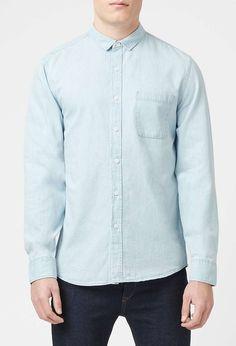 Topman - Ice Wash Denim Long Sleeve Casual Shirt