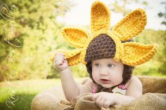 Baby Sunflower Crochet HatUnique by HatAndColdCrochet on Etsy, $46.00