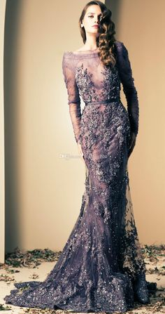 Wholesale 2014 Prom Dress Backless - Buy 2014 Ziad Nakad Luxury Mermaid Evening Gowns Prom Dresses Vintage Sheer Neck Beaded Appliques Illusion Back Long Sleeve Sequins Crystal, $373.73 | DHgate