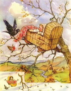 Rock-a-Bye Baby on the tree top, When the wind blows the cradle will rock. When the bough breaks the cradle will fall, Down will come baby, cradle, and all. Illustration by Margaret Tarrant Vintage Children's Books, Vintage Art, Vintage Postcards, Children's Book Illustration, Book Illustrations, Rock A Bye Baby, Baby Kind, Vintage Pictures, Nursery Rhymes