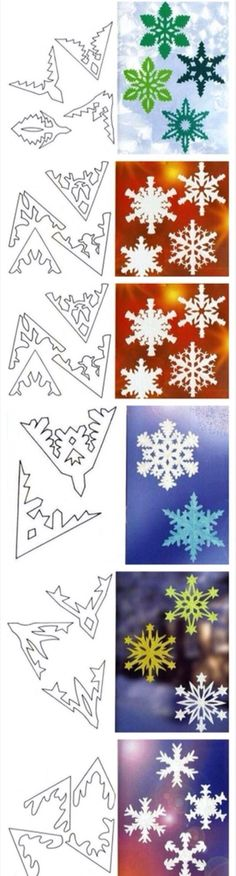 Fun for kids: creating paper snowflakes! - Fun for kids: creating paper snowflakes! Paper Snowflake Patterns, Snowflake Template, Origami Patterns, Paper Snowflakes, Christmas Snowflakes, Christmas Fun, Christmas Decorations, Christmas Ornaments, Paper Patterns