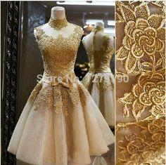 Fashion 2014 ouro Lace curto vestido de noite Rhinestone Prom Party vestidos de fiesta personalizar zuhair murad tarik ediz TK239 em Vestidos de Noite de Casamentos e Eventos no AliExpress.com | Alibaba Group