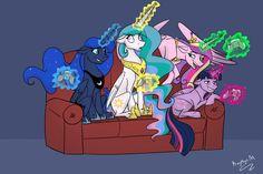 #1345561 - alicorn, alicorn tetrarchy, artist:kerorolover16, controller, couch, eyeroll, fake cadance, floppy ears, grin, magic, pony, princess cadance, princess celestia, princess luna, queen chrysalis, safe, sitting, smirk, telekinesis, twilight sparkle, twilight sparkle (alicorn), two best sisters play - Derpibooru - My Little Pony: Friendship is Magic Imageboard