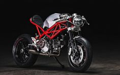 """I love Ducatis that say """"I dare you to ride me."""" This Ducati Monster Evo is one cool cafe racer. Known as (The Moscow Rat Army) Moto Ducati, Ducati Cafe Racer, Ducati Motorcycles, Cafe Racer Motorcycle, Custom Motorcycles, Custom Bikes, Cafe Racers, Retro Motorcycle, Motorcycle Quotes"""