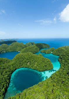 Helicopter flight over Rock Island blue hole - Micronesia
