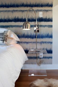 Get the look : Modern Chrome Arc Wall Sconce + Blue and White Tie Dye Wall + hide rug + acrylic side table Bedroom Nook, Bedroom Decor, Ocean Bedroom, Bedroom Lighting, Bedroom Inspo, Interior And Exterior, Interior Design, White Bedroom, Beautiful Bedrooms