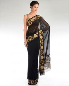 Black Sari with Golden Floral Embroidery - Exclusively In