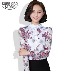 9.47$  Know more - New 2017 Fashion Blusa Women Brand shirt Slim Pirnted shirt long-sleeved Female lace Tops Women lace blouse Plus size 4XL 36i 25   #aliexpressideas