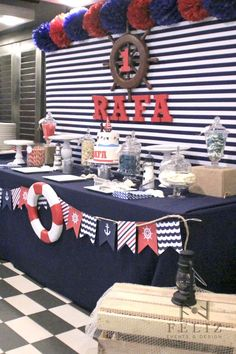 Sailor themed children's party - Trend Today : Your source for the latest trends, exclusives & Inspirations Sailor Birthday, Sailor Party, Sailor Theme, Baby Birthday, Nautical Mickey, Nautical Party, Baby Shower Themes, Baby Boy Shower, Baby Shower Marinero