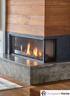 The Modore 95 by and distributed by European Home is a frameless, direc. - The Modore 95 by and distributed by European Home is a frameless, direct natural fireplace - Corner Gas Fireplace, Natural Gas Fireplace, Home Fireplace, Living Room With Fireplace, Fireplace Design, Metal Fireplace, Propane Fireplace Indoor, Timber Ceiling, Ikea Living Room