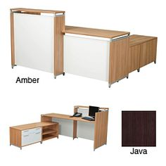 OneDesk ADA Compliant Reception Desk with Low Credenza