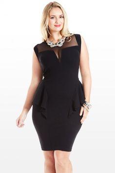 Fashion to Figure - Ruffle Me Up Mesh Peplum Dress - sizes 1X to 3X