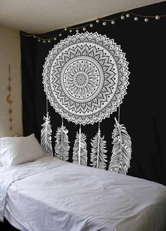 Dream Catcher Black And White Mandala Tapestry Wall Hanging Indian Cotton #SheetKart