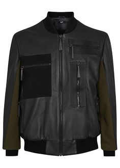 Blood Brother black leather bomber jacket Ribbed collar, cuffs and hem, olive felt panelled sleeves, zipped arm pocket, three zipped front pockets, black felt appliquéd zipped front pocket, canvas trims, internal zipped pocket, fully lined Zip fastening through front Fabric1; 100% leather (lamb); fabric2: 62% polyester, 33% viscose, 5% Lycra; lining: 65% polyester, 35% cotton