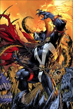 Straight from hell, artist Jim Lee does an excellent job at illustrating my personal favorite comic hero; Spawn, as he stands over the mutilated bodies of his victims.