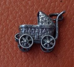 Vintage Sterling SIlver Baby Buggy Movable Charm..