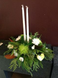 Two candle holiday arrangement. I love the non traditional colours in this one.