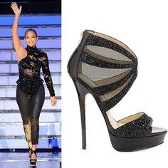 fab04a8626 Jennifer Lopez in Jimmy Choo black glitter Liv platform sandal Sexy Boots,  Sexy Heels,