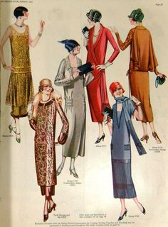 1920's era ladies dresses. The gold one is gorgeous.