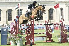 Kirsten Coe competing at Chantilly for the 2013 Longines Global Champions Tour