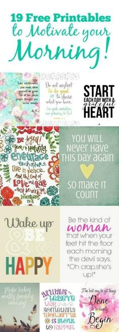 Motivate your morning with some of these free printables. It can be challenging… by stefanie