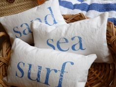 Beach Pillow Sea Sand and Surf Set of Three Throw Pillows Choose Pillow Size…