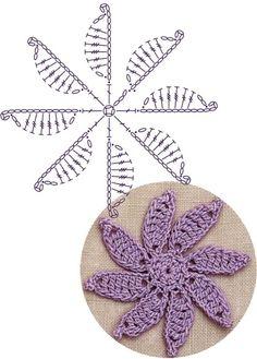 No.17 Spiral Flower Lace Crochet Motifs / 나선모양 플라워 모티브도안