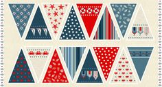 Seaside and beach themed Cotton Fabric from the Seaview collection for Makower designed to make a length of beautiful bunting from. Available per precut full width panels. £8 per panel. 100% Cotton.  Approximately 110cm wide.  Featuring 16 different bunting pennant pieces featuring assorted seaside designs including star fish, beach huts and more to cut and make up into bunting. One panel will create eight double sided bunting pennants, please order multiple panels to create longer bunting…