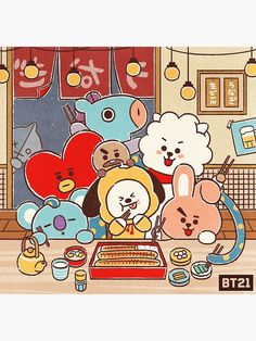 Anime Friends Group So Cute Fanart Bts, Bts Drawings, Line Friends, Billboard Music Awards, Bts Chibi, Bts Fans, I Love Bts, Bts Lockscreen, Bts Group