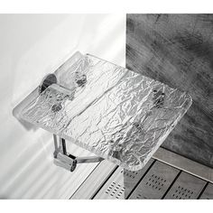 Bathroom Stool - Toscanaluce Trasparenze Wall Mounted Ice Effect Plexiglass Bathroom Folding Stool